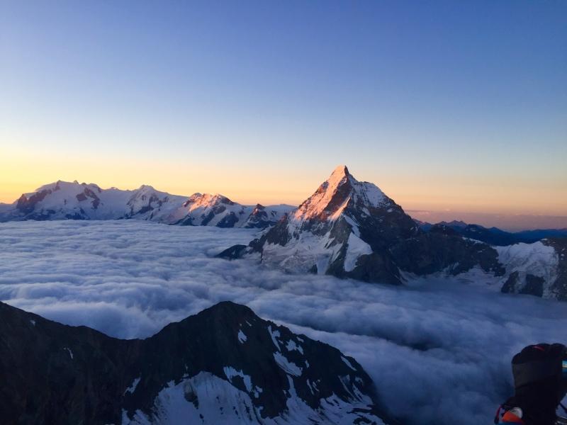 Matterhorn at dawn from Dent Blanche Ross Hewitt Guiding