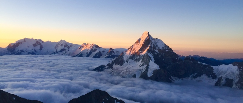 Matterhorn at dawn from Dent Blanche Ross Hewitt Guiding