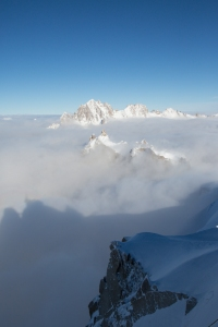 sea of clouds start of vallee blanche Ross Hewitt Guiding