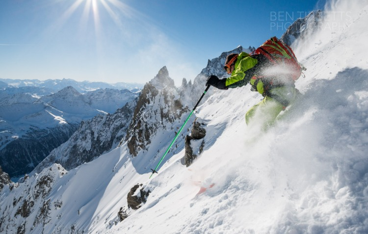 Ross Hewitt in front of Peuterey Ridge of Mont Blanc by Ben Tibbetts