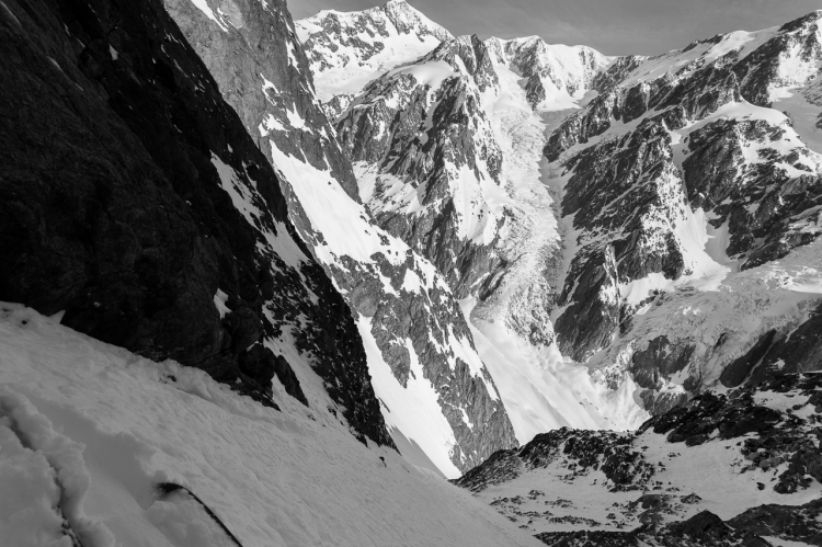 Ross Hewitt Steep Skiing in the Miage Basin in Aigle Couloir