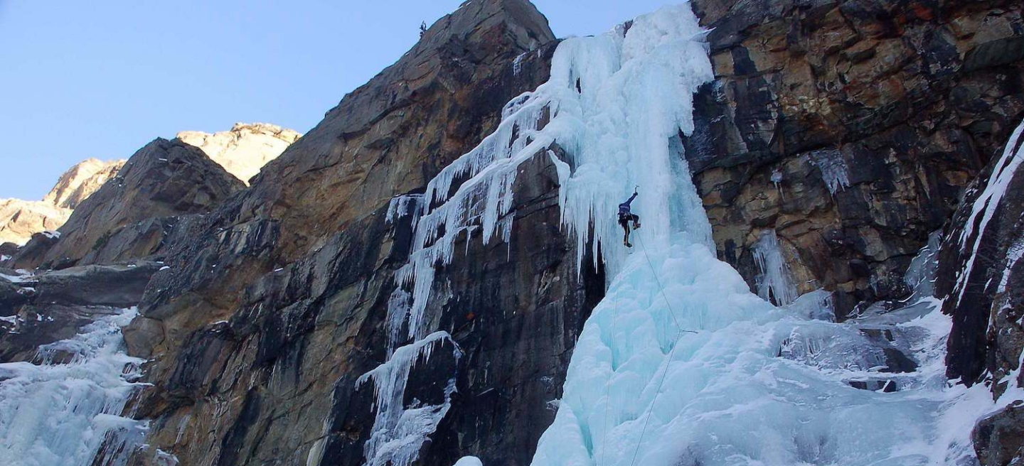 Ross Hewitt Guiding ice climbing 2