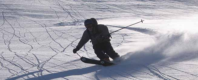 Me skiing a run called 'happiness'. Photo: Pete Benson