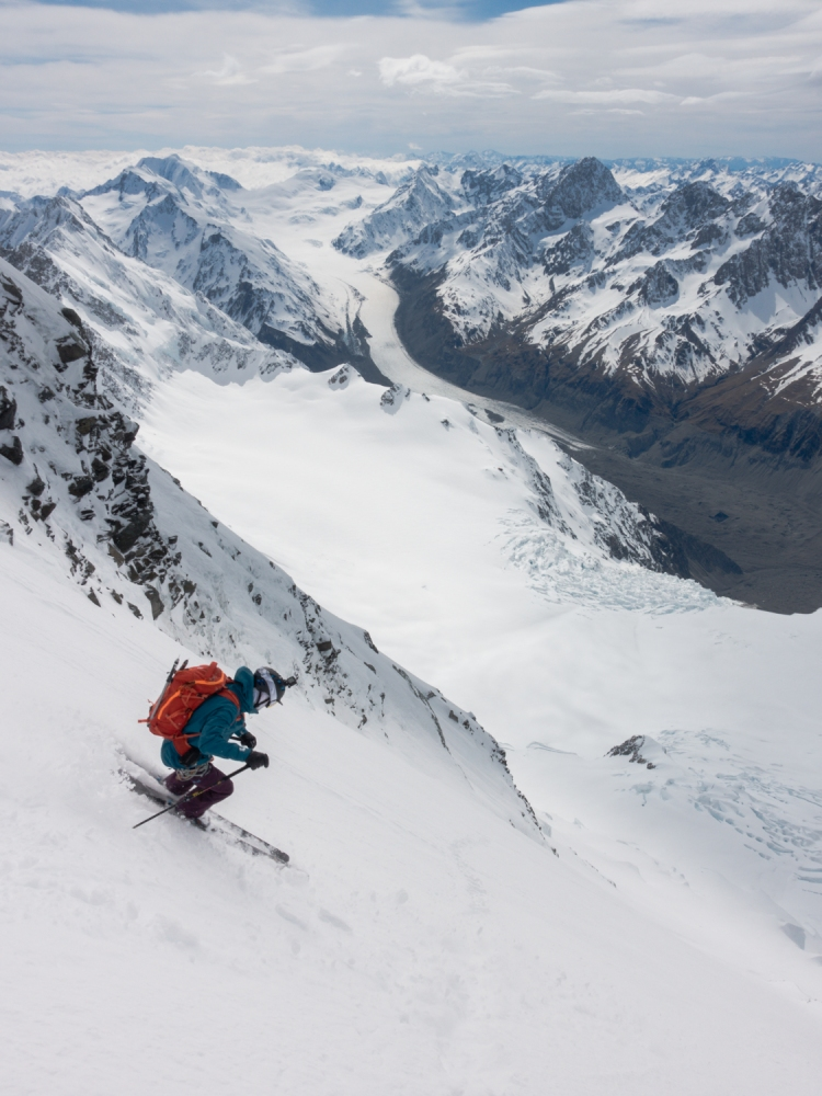 Dave Searle skiing East Face of Aoraki / Mount Cook by Ross Hewitt