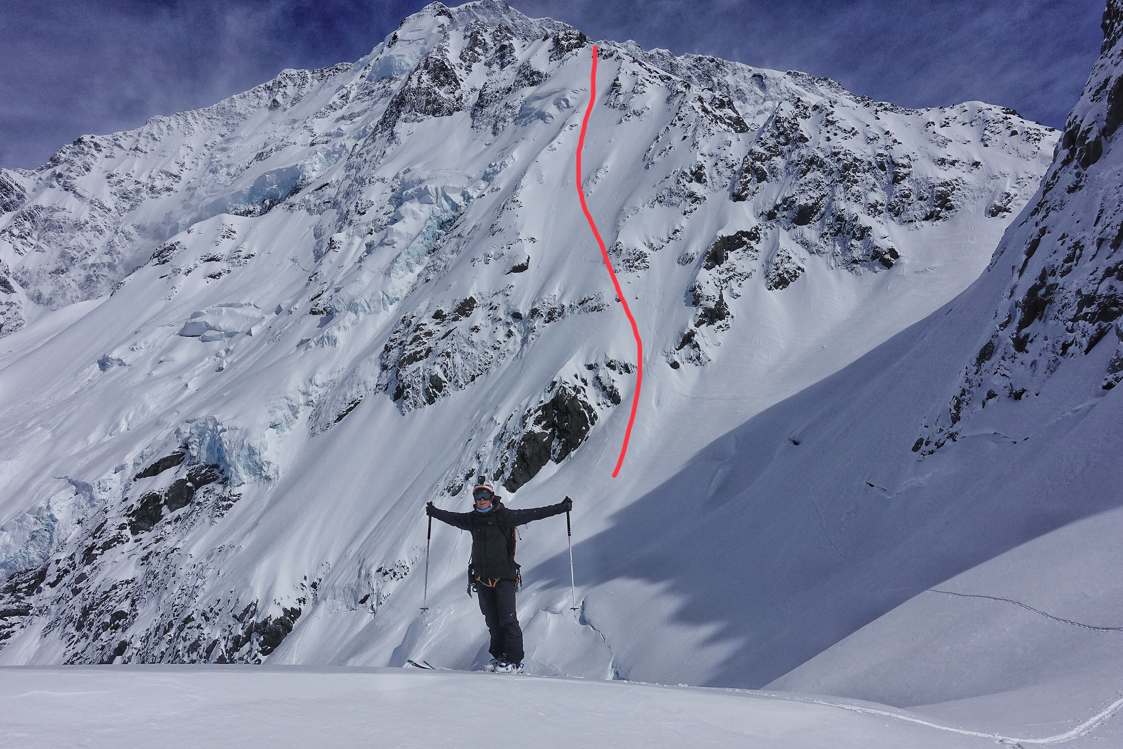 Ross Hewitt after skiing a new line on the Caroline Face of Aoraki / Mount Cook NZ by Dave Searle