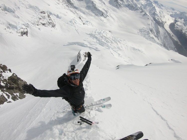 Ross HeDave Searle POV of Ross Hewitt skiing kingspine of Aoraki Mount Cook NZ