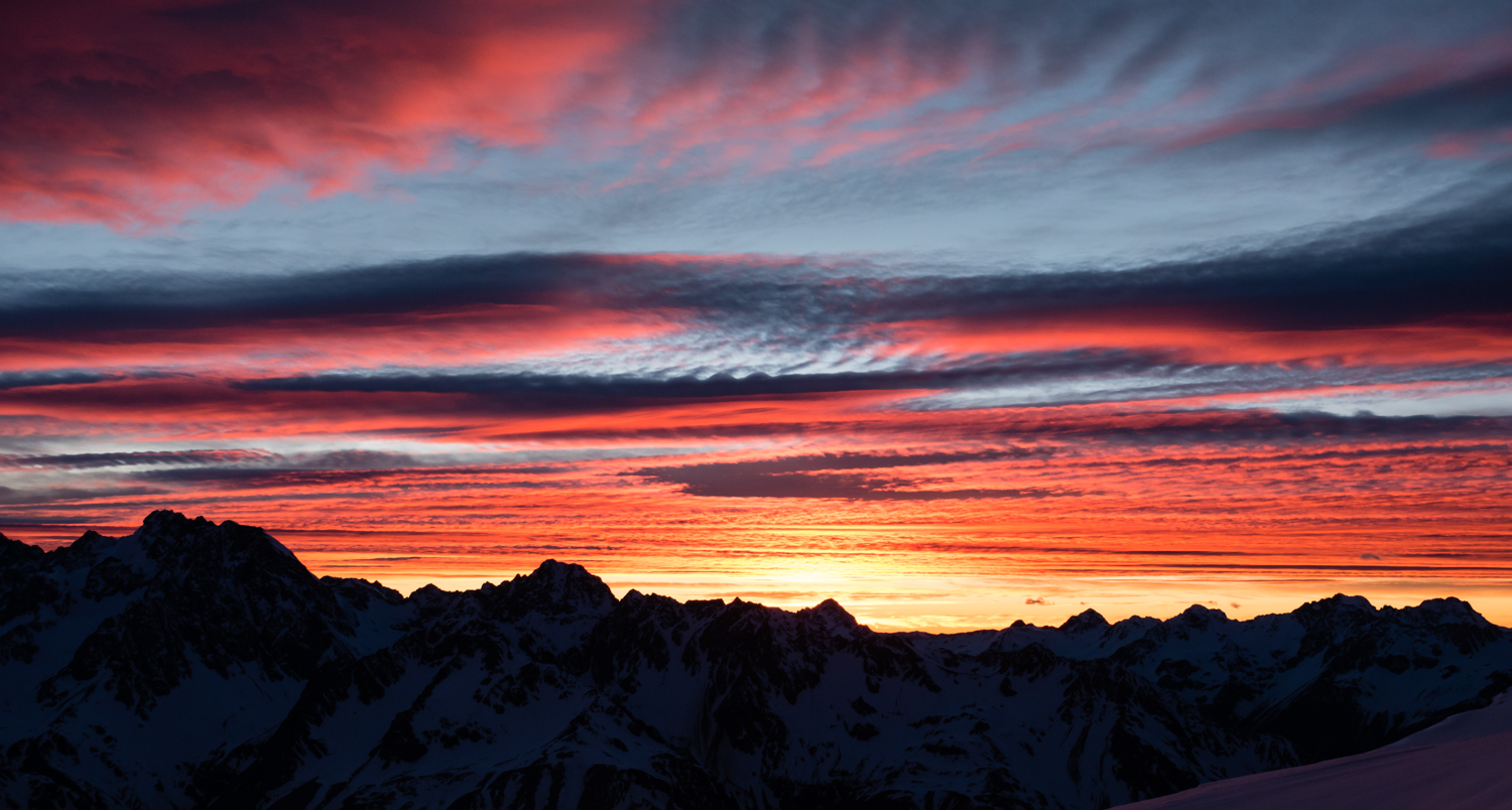 sunrise over Aiguille Rouge Chudleigh Nathan by Ross Hewitt