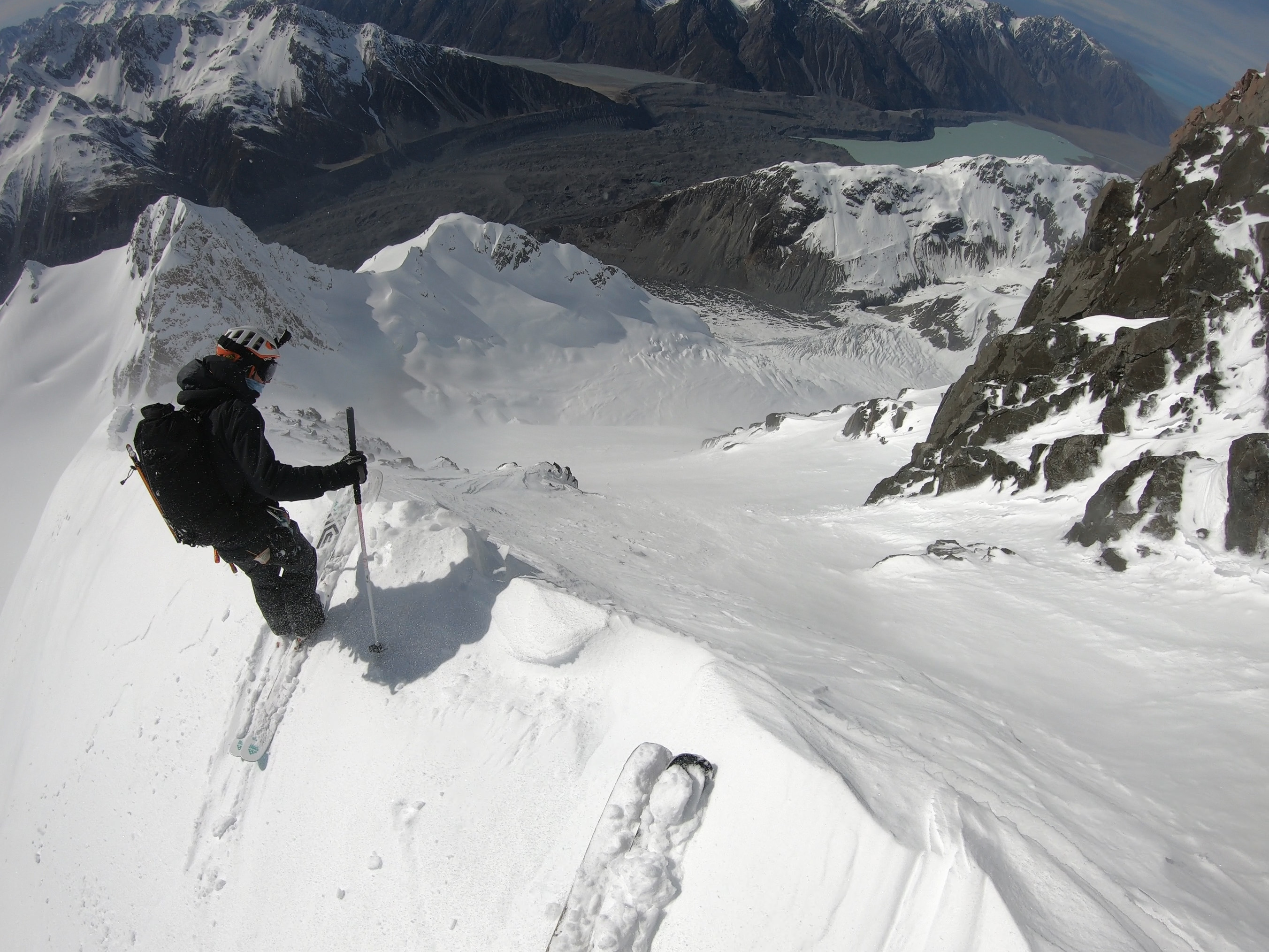 Ross HeDave Searle POV of Ross Hewitt skiing First Descent on Caroline Face of Aoraki Mount Cook NZ