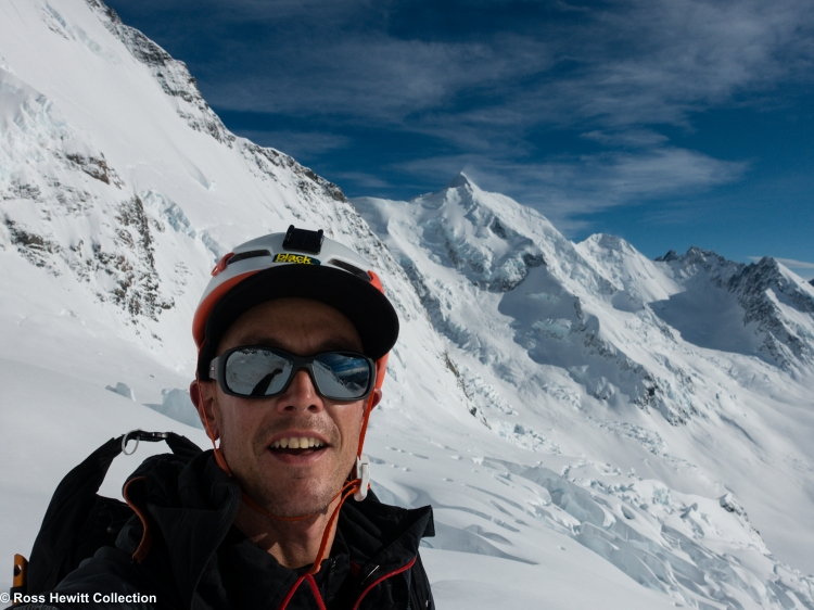 Ross Hewitt with East Face Aoraki Mount Cook and Silberhorn Lendenfield in NZ