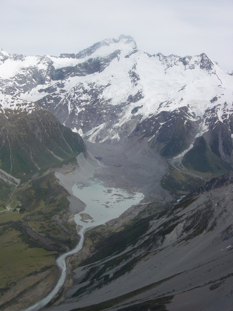 Mt Sefton and Mueller glacier from chopper