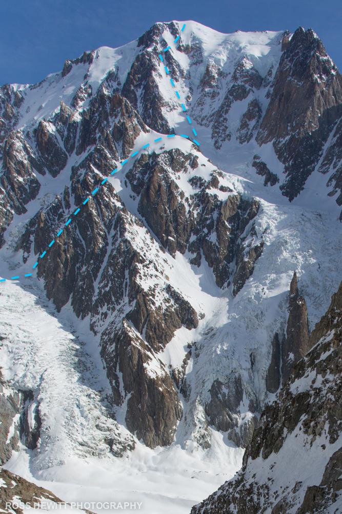 Mont Blanc West Face Ross Hewitt topo