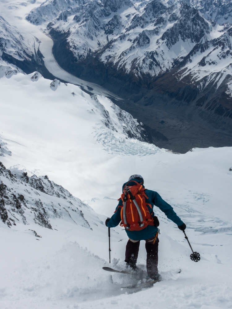 Dave Searle skiing on the East Face of Aoraki / Mt Cook by Ross Hewitt