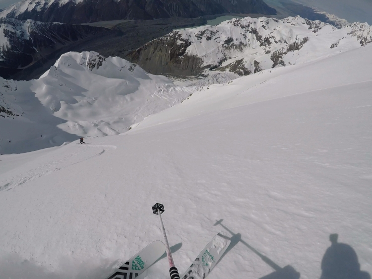Ross Hewitt a POV and Dave Searle skiing First Descent on Caroline Face of Aoraki Mount Cook NZ
