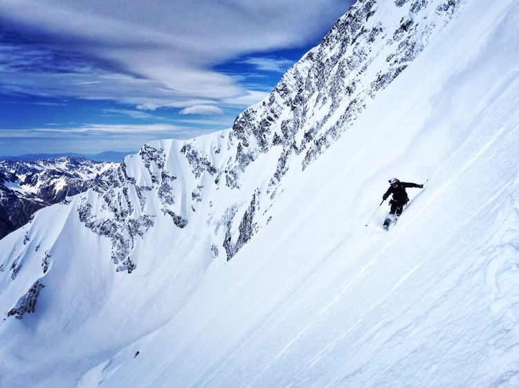 Ross Hewitt skiing East Face of Aoraki / Mount Cook NZ by Dave Searle