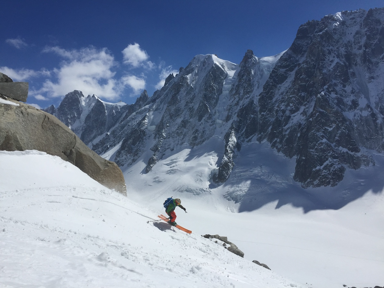 touring under the Giant Argentiere basin north wall