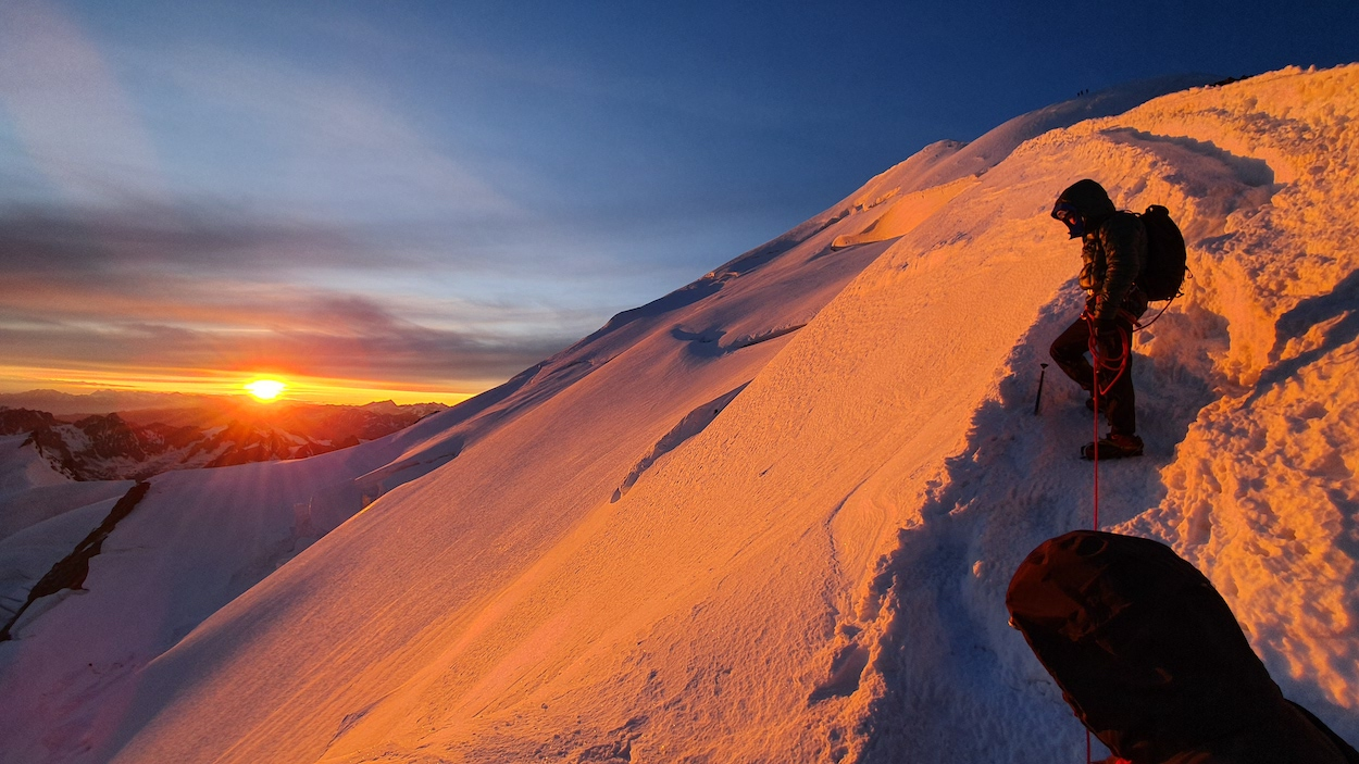 glorious sunrise near summit of Mont Blanc